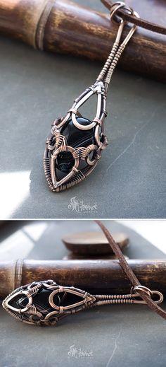 Black stone necklace pendant // Black agate necklace // Long black gem stone agate necklace // Wire wrapped black agate necklace pendant