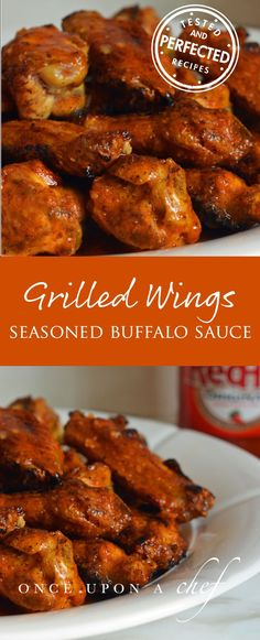 Grilled Chicken Wings with Seasoned Buffalo Sauce - Casserole recipes - Grillen Grilled Chicken Wings, Grilled Chicken Recipes, Chicken Wing Recipes, Grilled Meat, Grilled Buffalo Wings Recipe, Grilled Buffalo Chicken, Smoked Hot Wings Recipe, Grilled Hot Wings Recipe, Grilled Chicken Seasoning