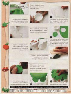 Como fazer passo a passo biscuit Pote de Rosas   Biscuit da Fernanda