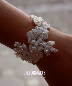 Bridal White Vintage Lace And Swarovski Crystals Sparkling Wedding Bracelet, Wedding cuff via Etsy