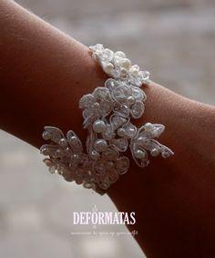 Bridal White Vintage Lace And Swarovski Crystals Sparkling Wedding Bracelet, Wedding cuff via Etsy