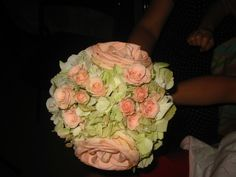 2007 Wedding - antique hydrangea, rose and sweetheart rose bridesmaid bouquet
