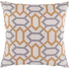 Surya Decorative 18-inch Trellis Throw Pillow Cover (Yellow), Blue, Size 18 x 18 (Polyester, Geometric)