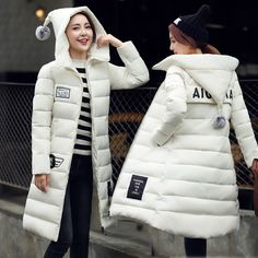 Cheap jacket sailing, Buy Quality parka women directly from China jacket raincoat Suppliers: Long Down Parkas For Women 2016 Warm Winter Jackets And Coats With Letter Pockets Thickening Cotton Padded Hooded Female Outwear Winter Jackets Women, Coats For Women, Clothes For Women, Long Down Coat, Long Overcoat, Womens Parka, Down Parka, Padded Jacket, Latest Fashion For Women