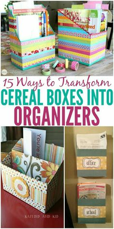 Fabric Ideas Cereal box organizers or so simple to make and best of all INEXPENSIVE! - You don't have to spend hundreds on organizing your home. Try these hacks to create DIY cereal box organizers! These are easy to customize and inexpensive! Cereal Box Organizer, Cardboard Organizer, Cardboard Box Crafts, Paper Crafts, Diy Crafts, Cardboard Box Storage, Cereal Box Storage, Cereal Box Crafts, Cardboard Playhouse