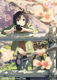 anime girl with camera (hey wait, that's one of the girls from Idolm@ster! Makoto I think...)