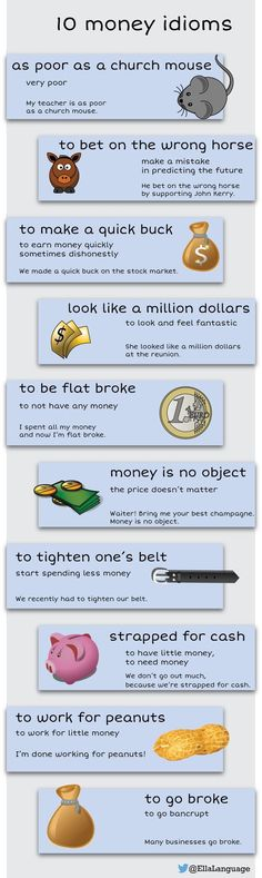 10 money idioms - Learn and improve your English language with our FREE Classes. Call Karen Luceti or email kluceti to register for classes. Eastern Shore of Maryland. English Vinglish, English Tips, English Writing, English Study, English Words, English Lessons, English Grammar, Learn English, English Phrases