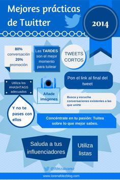 """Una #infografía que me ha gustado mucho, las """"Mejores prácticas en #Twitter"""", de @lfdezalvarez . Buenos consejos y buena ilustración."""