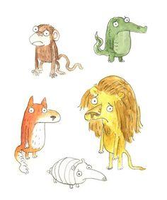 Sad Animals. Sketches for a new story idea. #childrensillustration #animals #sad #illustration #watercolour #lion #monkey #armadillo #fox #crocodile #kidslit #sketch #feelingsad