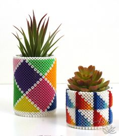 Turn meltable perler beads into three dimensional cylinders. Great to hold pencils or turn them into a planter or flower vase. Perler Bead Designs, Diy Perler Beads, Pearler Beads, Hobbies And Crafts, Crafts To Make, Fun Crafts, Paper Crafts, Cork Crafts, Bead Crafts