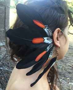 Natural feather ear cuff / feather cuff / by Atlasenchantress