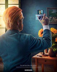 Samsung Self Portrait Campagne print élevant le selfie au rang d'art. Elle souhaite modifier de manière ambitieuse la perception de nos usages, et revendique l'autoportrait comme un art : elle va ainsi remplacer la motivation égocentrique, d'amour de soi par la recherche d'un esthétisme, qui est plus noble et socialement bien plus accepté.