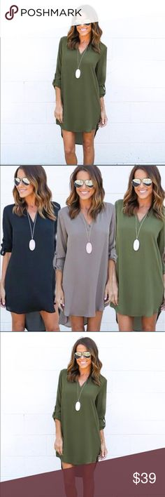 Host Pick Casual tunic dress in Olive Host Pick A stunning casual tunic chiffon dress in Olive. Pair it with Denim or leggings for a super trendy , effortless chic. I have it also in Gray , Navy and coffee. Check my closet for more details. NWOT. Dresses