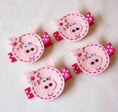 Pink Piggy Felt Hair Clip - A cute clippie for everyday wear - Miss Piggie Clippie. $3.25, via Etsy.