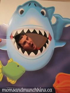 under-the-sea-party shark cut out for photos and bean bag toss