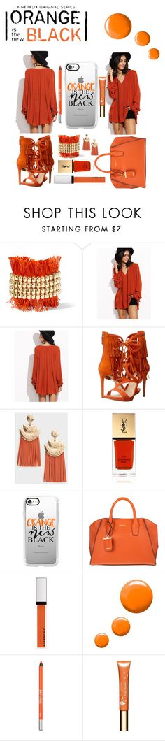 """""""Orange is the New Black"""" by amanda-noel-fischer ❤ liked on Polyvore featuring Rosantica, GUESS, MANGO, Yves Saint Laurent, Casetify, DKNY, Givenchy, Topshop, Urban Decay and Clarins"""