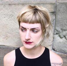 short asymmetrical bob with cropped bangs