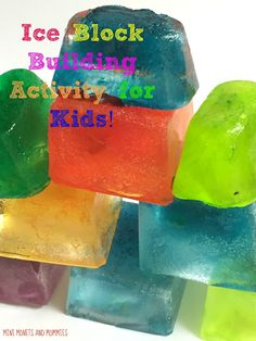 Building blocks ice activity for kids. Combine science and art into one fun exploration.