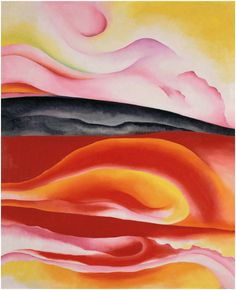 Georgia O'Keeffe, Red, Yellow and Black Streak, 1924. Oil on canvas, 39 3/8 × 31 3/4 in. (100 × 80.6 cm). Musée National d'Art Moderne, Centre Georges Pompidou, Paris. © Georgia O'Keeffe Museum/Artist Rights Society(ARS), New York. Photography by CNAC/MNAM/Dist. Réunion des Musées Nationaux/ Art Resource, NY