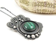 Metalwork pendant  green malachite  sterling by MadeBySunflower, $150.00