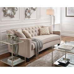 Make your living room feel more welcoming with the addition of this Home Decorators Collection Riemann Pearl Polyester Sofa. Elegant Home Decor, Furniture, Farmhouse Decor Living Room, Modern Farmhouse Living Room, Living Room Sofa, Living Room Furniture, Traditional Sofa, Tufted Sofa Living Room, Living Decor