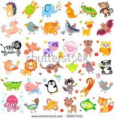 Vector illustration of cute animals and birds: quail, giraffe, vampire bat, cow, sheep, bear, owl, whale, panda, lion, fox, quail, tiger, turtle, kangaroo, monkey, jellyfish, unicorn, numbat, jungle - stock vector