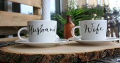 celebrate being newly-weds with this matching cup + saucer set (it makes a perfect gift)! | the apothecary bee.  #husbandandwife #teacup #weddinggift