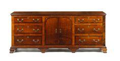 Allpress Antiques Furniture Melbourne Victoria Australia: A George III English and later oak and mahogany crossbanded dresser - UK1786