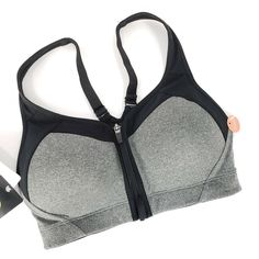 2af9a44261 C9 Champion Sports Bra 34 C Zip Front Close Black Gray Max Support Power  Shape