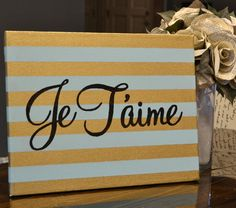 Je T'aime Mint Green & Gold Striped Canvas by GoldenPaisley, $40.00