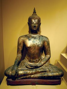 Seated Buddha, gilt bronze sculpture from Sukhothai, Thailand, 14th–early 15th century; in the Honolulu Academy of Arts.