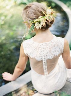 romantic summer updo with florals