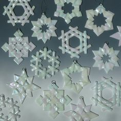 White Iridized Fused Glass Snowflakes