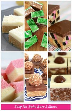 No-Bake Bars & Slices (the most popular recipes!) 15 Easy No-Bake Bars & Slices roundup ! best bar and slice round-up Easy No-Bake Bars & Slices roundup ! best bar and slice round-up ever! No Bake Treats, No Bake Desserts, Just Desserts, Dessert Recipes, No Bake Slices, Ma Baker, Cake Stall, Chocolate Slice, Chocolate Ganache