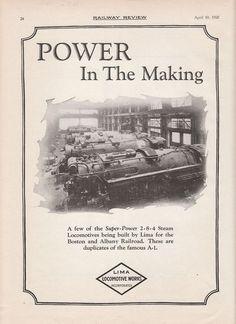 1926 Lima Ad: Construction of Boston & Albany Railroad 2-8-4 Type Locomotives