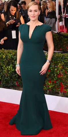 InStyle Fashion News Director Eric Wilson's Top 10 Best Dressed at the 2016 SAG Awards - Kate Winslet in Armani  - from InStyle.com
