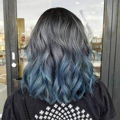 50 Fun Blue Hair Ideas Become More Adventurous With Your Hair # more adventurous # . - Beliebt Frisuren - Your HairStyle Hair Dye Colors, Ombre Hair Color, Cool Hair Color, Grey Ombre, Color Streaks, Ombré Hair, Dye My Hair, Prom Hair, Faded Hair