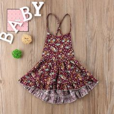 7398ae8bf Toddler Baby Girls Floral Dress Sleeveless Princess Party Pageant Dress  Kids Cute Clothes