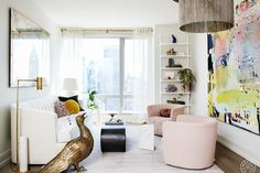 Designer Amy Courtney was persuaded by all thing feminine when she designed this bold, sculptural Hell's Kitchen space.
