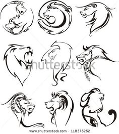Stylized lion heads. Set of black and white vector illustrations. by Rorius, via Shutterstock