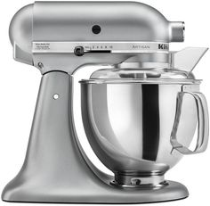 This KitchenAid Artisan Mixer is in the ever popular color, Silver Metallic, that will look great on any counter top.  The KitchenAid Artisan Mixer has a 325W motor, 5qt bowl, pouring shield and a tilt-back mixer $249.99