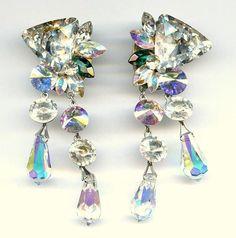 "Vtg OOAK Swarovski Crystals Triangle Rivoli Briolette 3.5""L Dangle Clip Earrings"