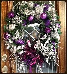Silver & Purple Christmas Wreath