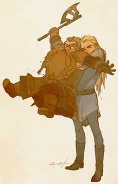 I don't even know who this is but it's adorable! {I'm guessing lord of the rings or something} < I am ashamed of these people. ITS LEGOLAS AND GIMLI go read some Tolkien. Jrr Tolkien, Legolas Et Gimli, Gandalf, Bilbo Baggins, Thorin Oakenshield, Aragorn, Cinema Art, Lord Of The Rings, Middle Earth