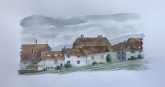 Items similar to Original watercolour painting of Luins, Canton Vaud, Switzerland. on Etsy Watercolor Sketch, Watercolor Landscape, Watercolour Painting, Farm Yard, Sketches, The Originals, Building, Switzerland, Vintage