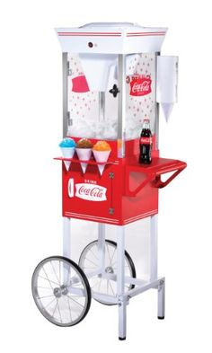 Coca-Cola nostalgia and collectible merchandise, old fashioned snow cone cart.