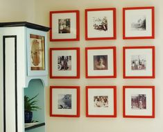 Gallery wall of family photos, IKEA Ribba frames or something similar. Need to spray mine -CORAL- to match house.