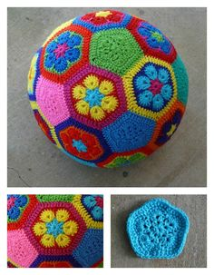 Crochet Toys For Boys African Flower Soccer Ball Free Crochet Pattern - The Amigurumi Ball Free Crochet Pattern will yield a fast and easy homemade gift for baby shower or newborns. They are soft and safe. Crochet Ball, Crochet Baby Toys, Crochet Gifts, Cute Crochet, Crochet Food, Crochet Motifs, Crochet Patterns Amigurumi, Knitting Patterns, African Flower Crochet Animals