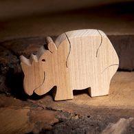 Rhinoceros wooden animal figures