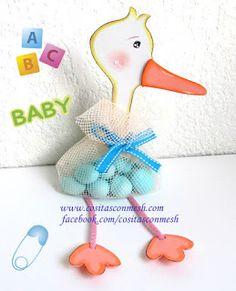 Cigueña con dulces para baby shower ~ cositasconmesh